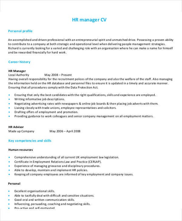 Hr Manager Job Resume Sample. Resume Sample 8 Hr Manager Resume