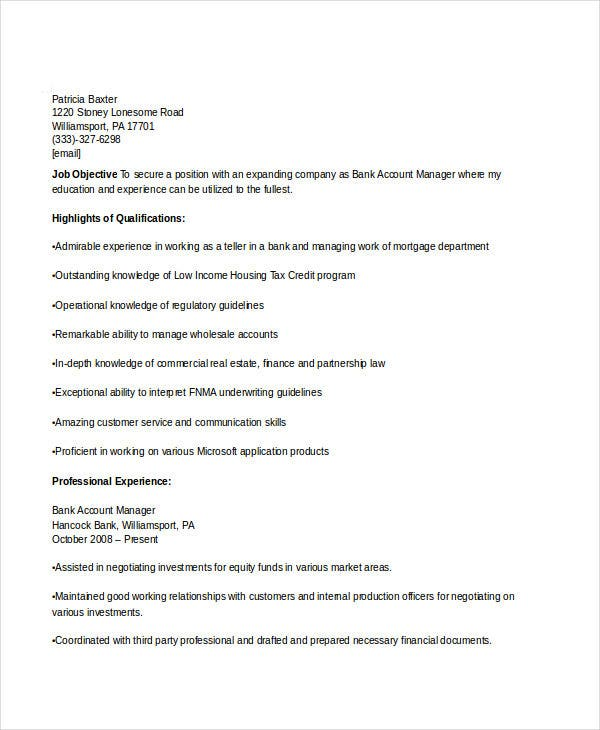 bank account manager resume