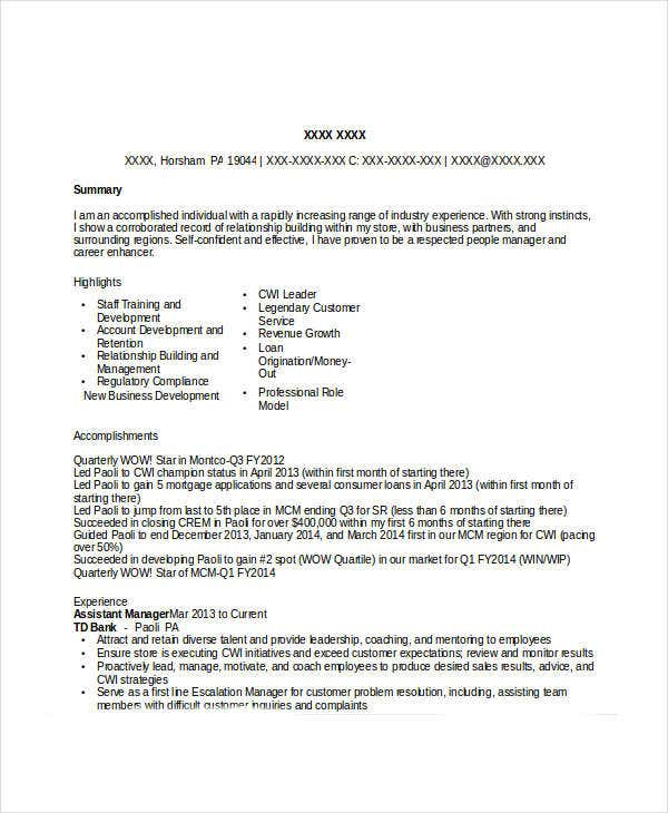 bank manager resume tradinghub co