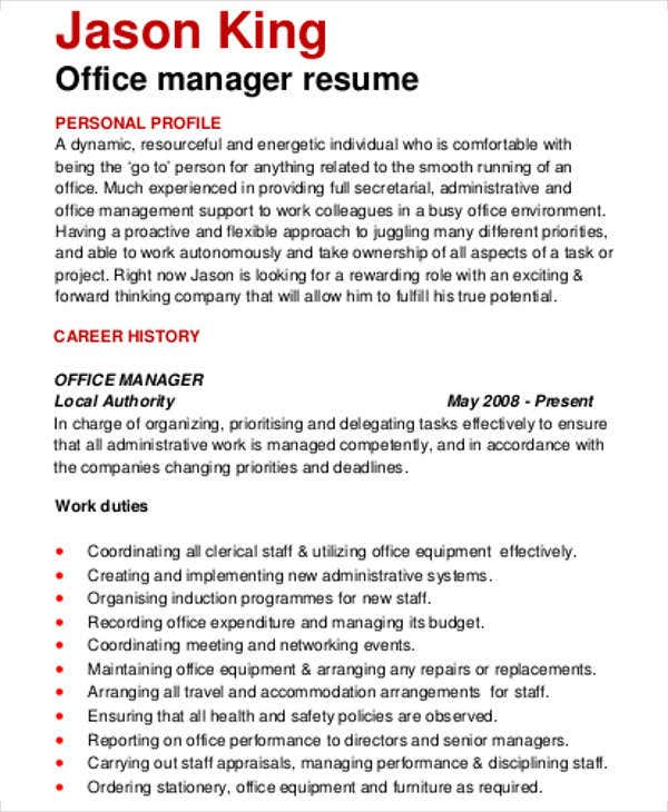 Office Manager Sample  Office Manager Sample Resume