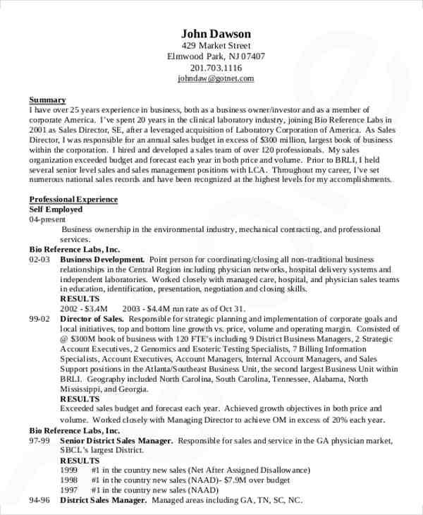 sales manager resume sample1