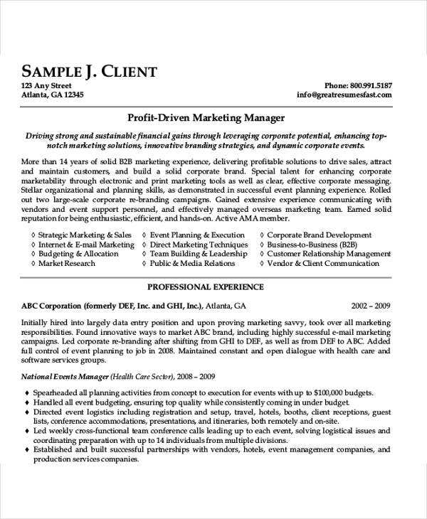 54 manager resumes in pdf free premium templates