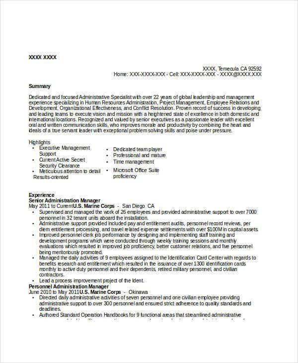 senior administration manager resume1