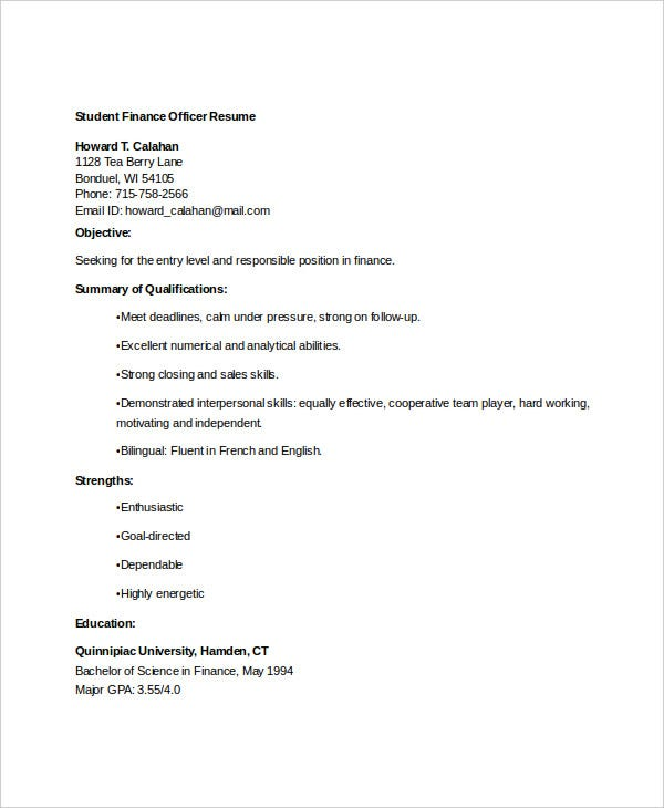 student finance officer resume1