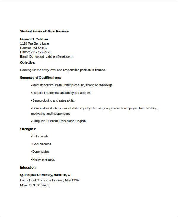 student finance officer resume1
