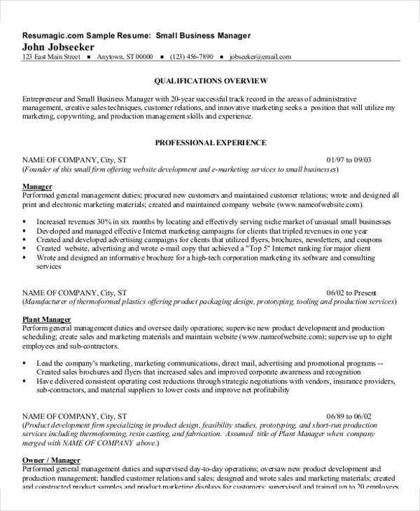 54 manager resumes in pdf free premium templates for Resume samples for it company