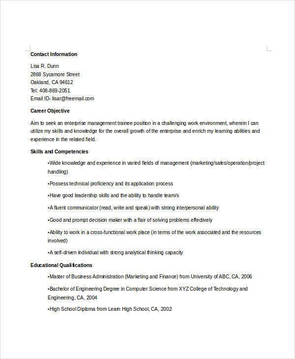 enterprise manager trainee resume