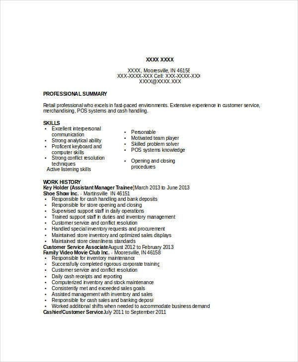 assistant manager trainee resume
