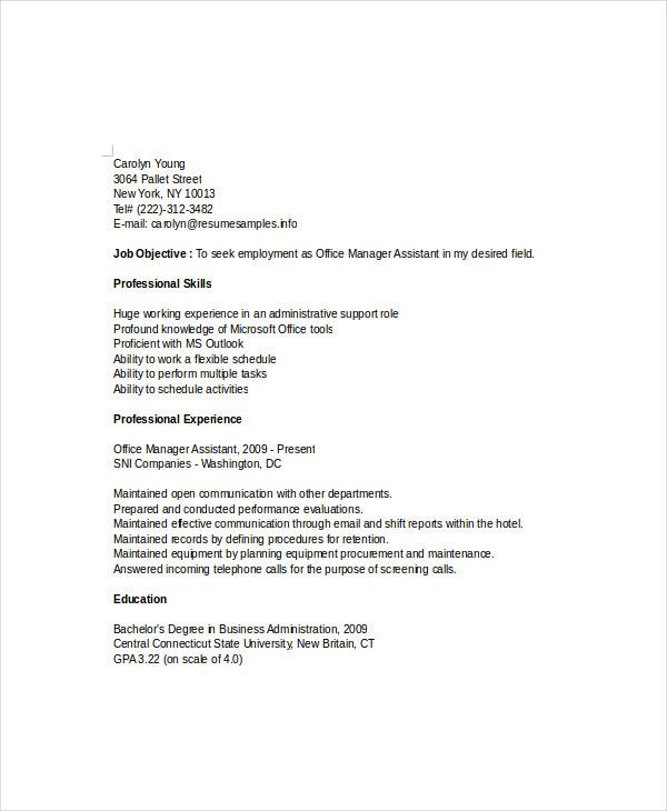 office manager assistant resume
