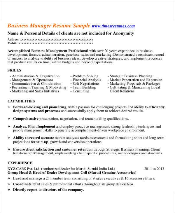business manager sample - Business Manager Resume