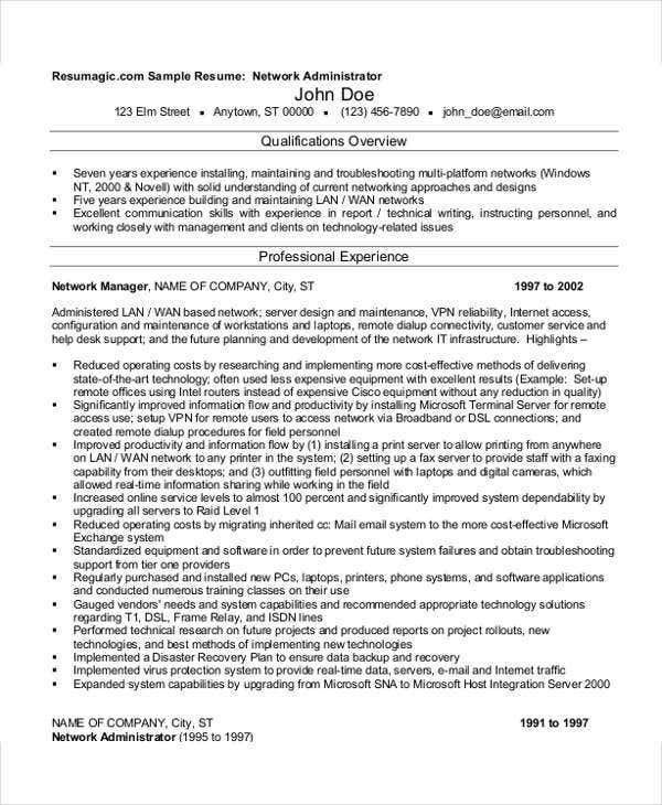 it networking resume format