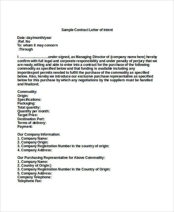 sample contract letter of intent