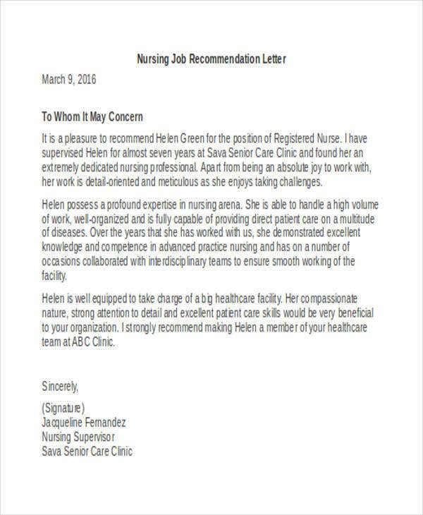 work recommendation letter examples