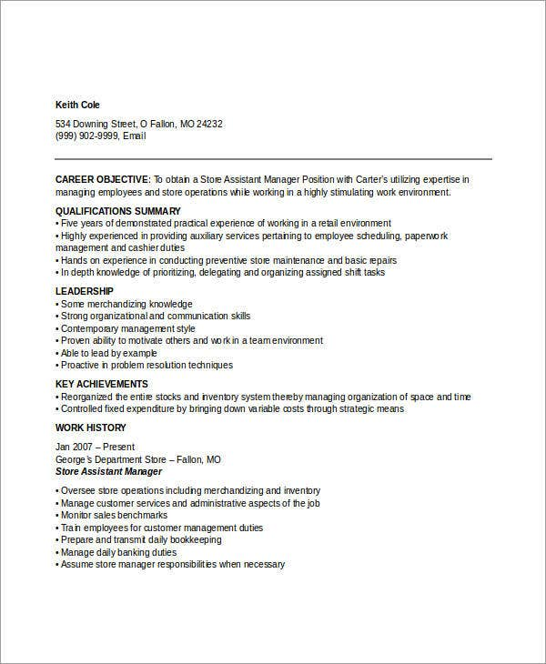 store manager resume samples assistant store manager. Resume Example. Resume CV Cover Letter