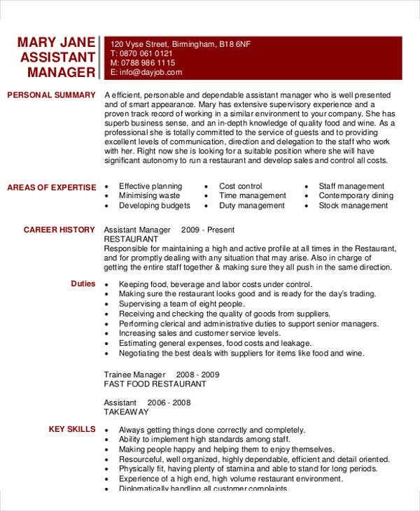 assistant restaurant manager resume template microsoft word cv sample samples pdf