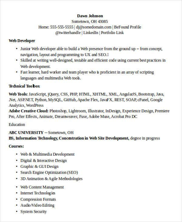 it job resume format monstercom