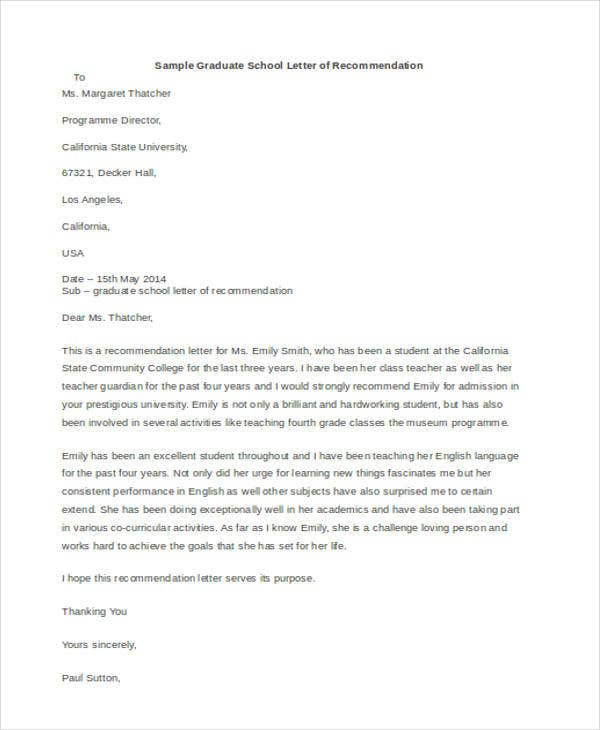 sample recommendation letter for graduate school 45 free recommendation letter templates free amp premium 24681 | Recommendation Letter Sample for Graduate School
