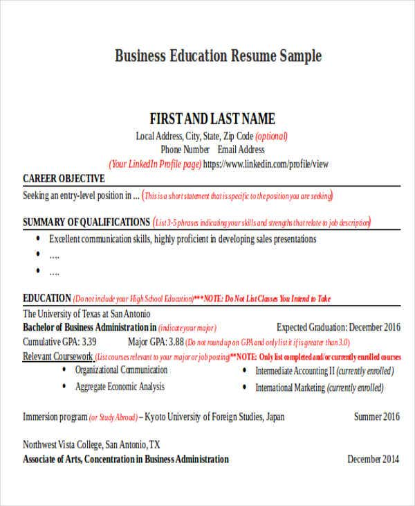 education for resumes
