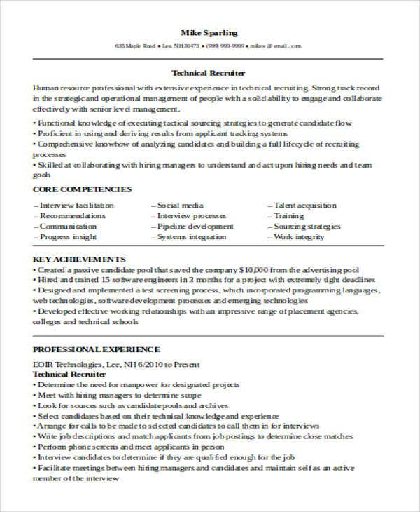 IT Technical Recruiter Resume