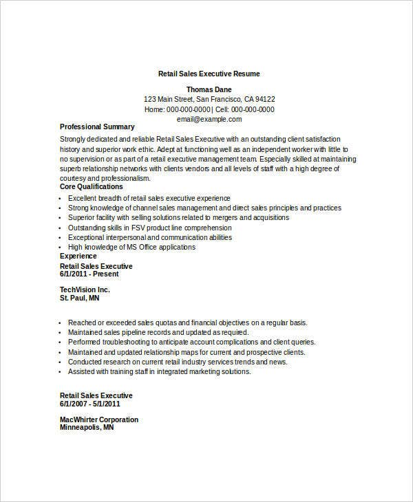 Retail Executive Resume. Resume Sample - Senior Sales Executive