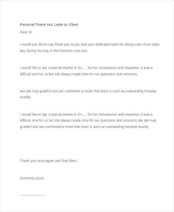 45 thank you letter example templates free premium templates personal thank you letter to client1 altavistaventures Image collections