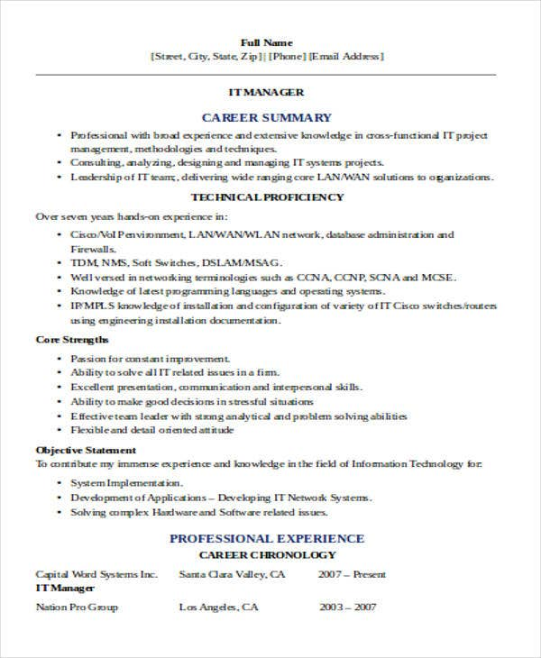technical it resume sample