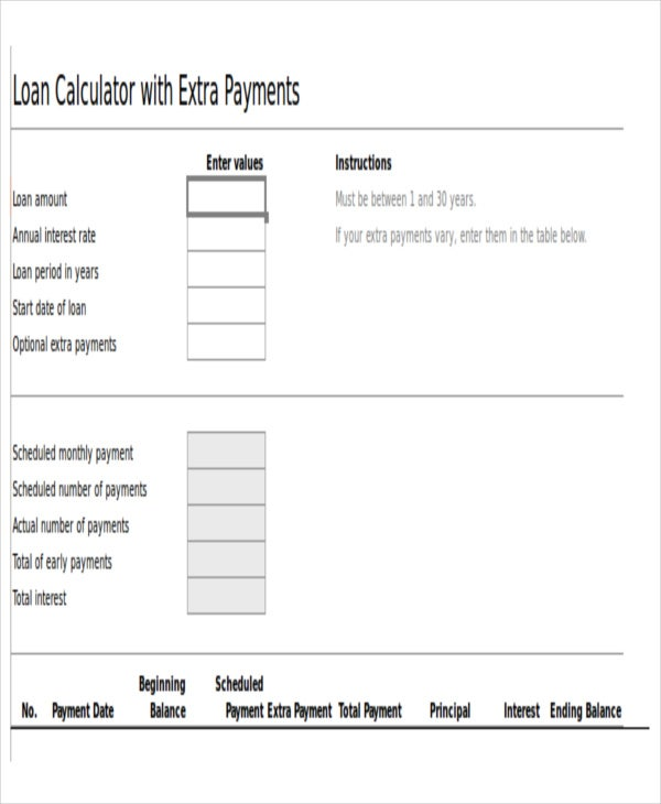 8  car loan amortization schedules