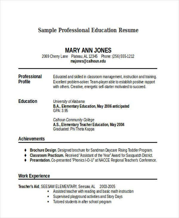 Sample Resume For Professional Education  Toddler Teacher Resume