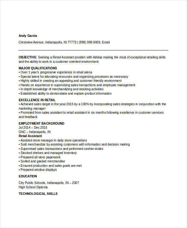 Retail Sales Resume Retail Sales Resume Template Retail Assistant