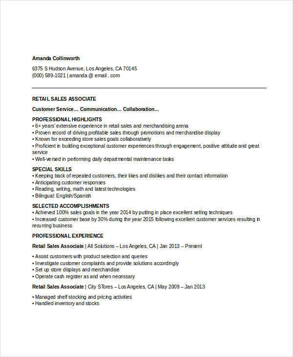Retail Sales Associate Resume  Sales Resume Templates