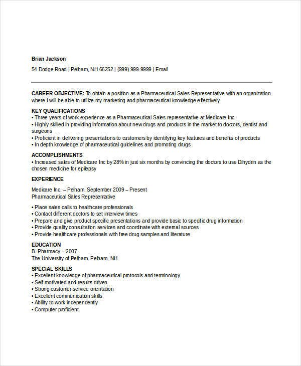 Pharmaceutical Sales Representative Resume  Best Sales Resumes