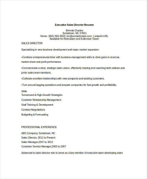 executive sales director resume3