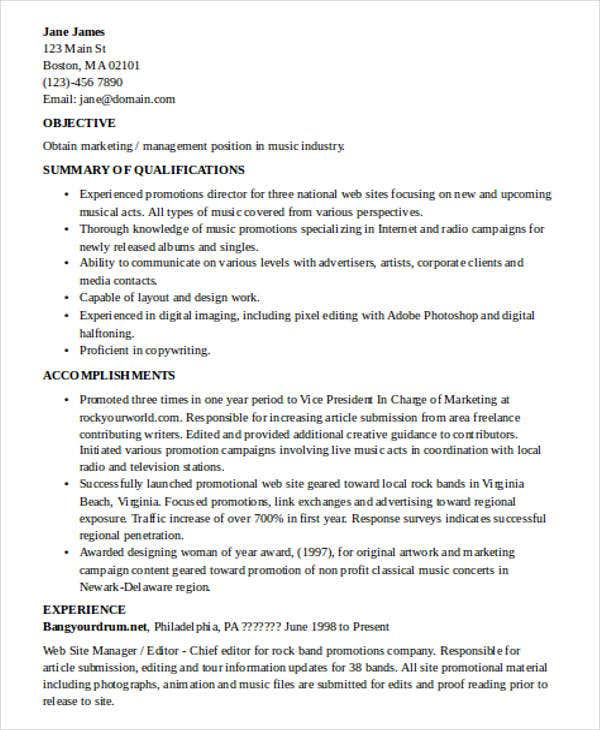 experienced it marketing resume