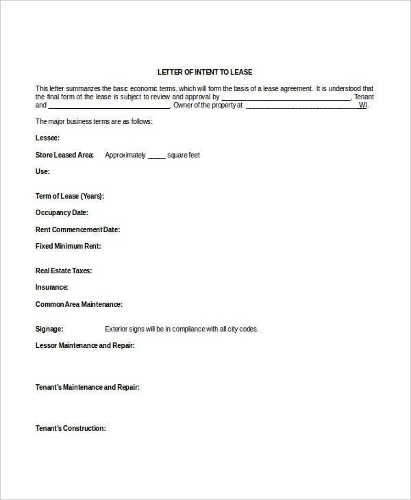 real estate lease letter of intent doc