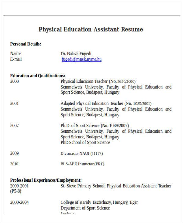 physical education assistant resume1