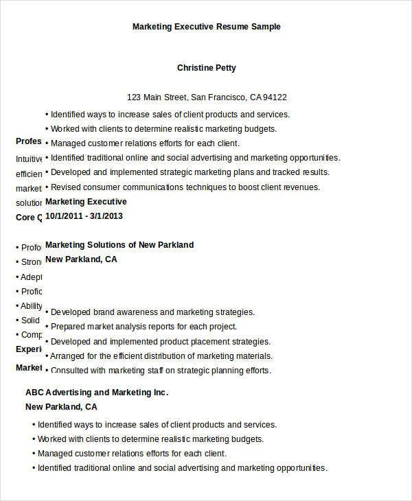 Executive Resume Templates - 28+ Free Word, Pdf Documents Download
