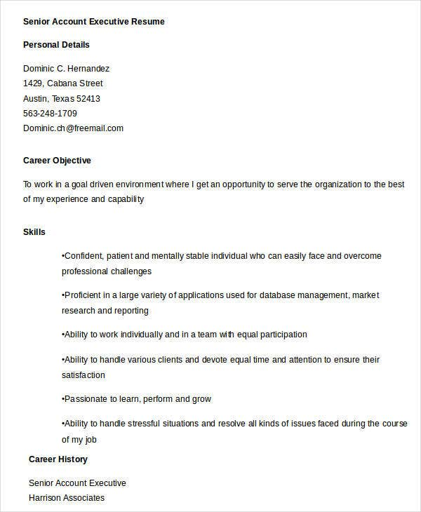 Executive Resume Templates   Free Word Pdf Documents Download