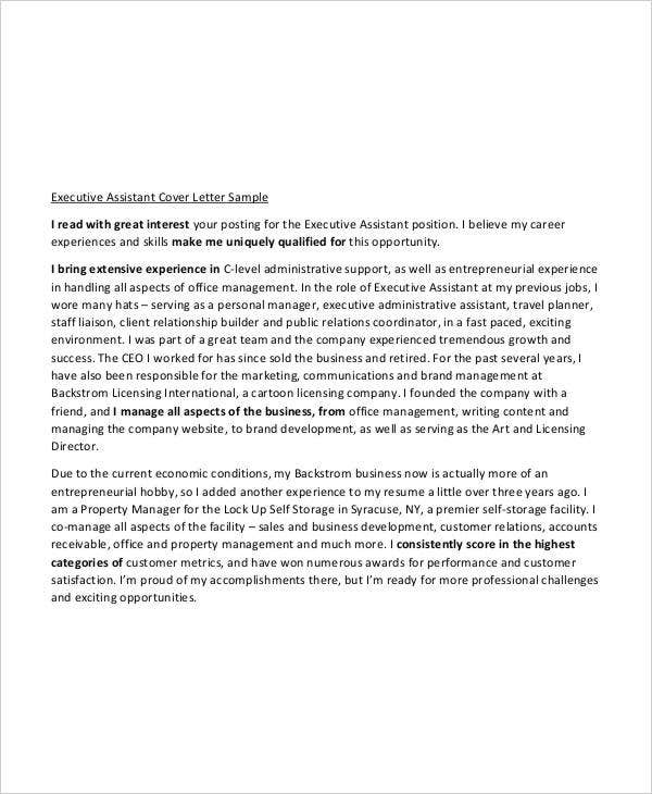 Executive Assistant Resume Cover Letter