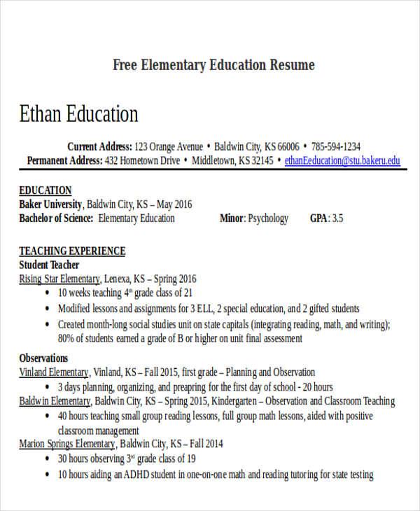 free elementary education resume2