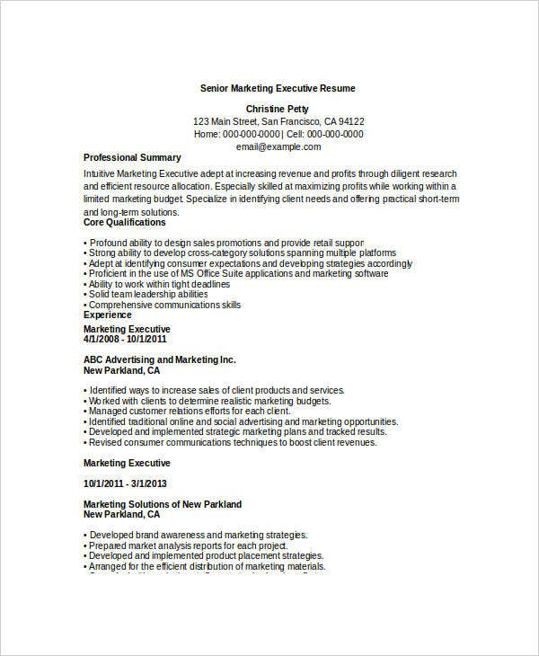 free executive resume templates 34 free word pdf documents
