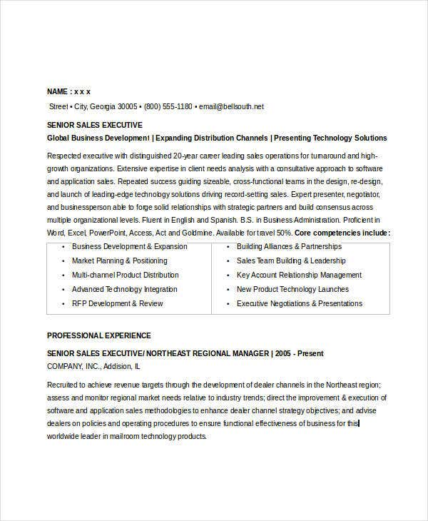 senior sales executive resume sample - Sale Executive Resume Sample
