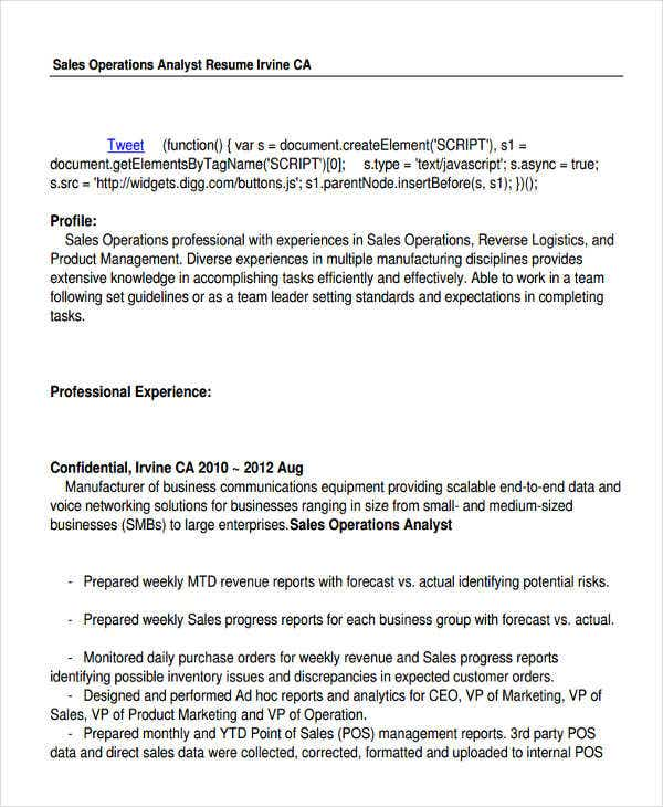 Sales Operations Analyst Resume  Vp Of Sales Resume