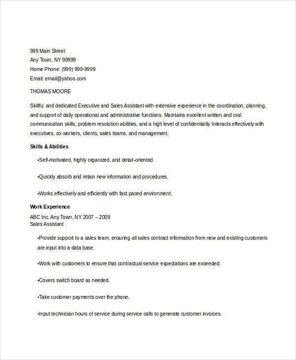 sales executive assistant resume