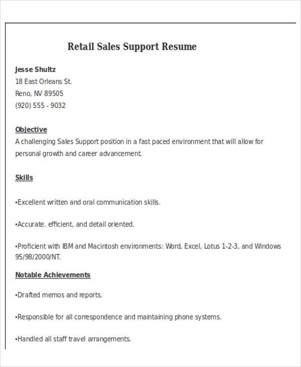 retail sales support resume