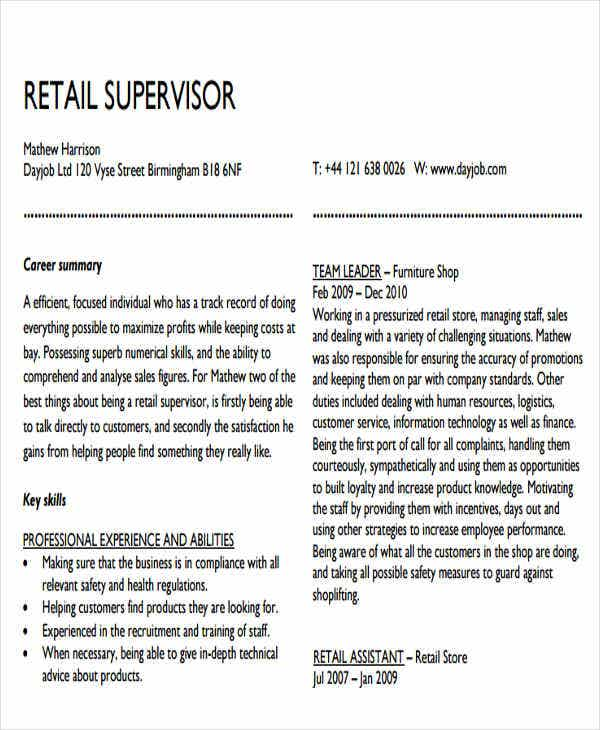 retail sales supervisor resume