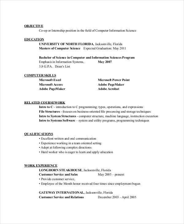 civil engineering internship resume