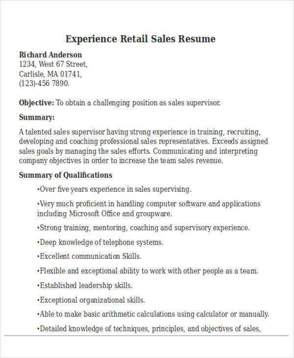 experience retail sales resume