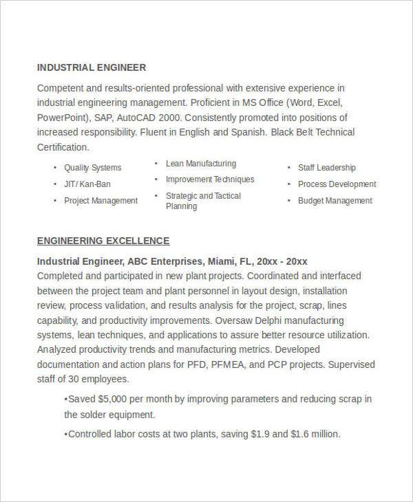 industrial engineering resume example