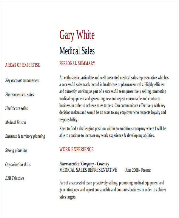 Exceptional Healthcare Sales Representative Resume  Medical Sales Rep Resume