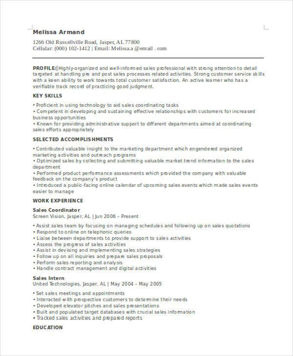sales support coordinator resume